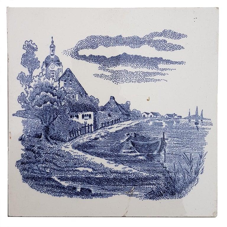 Mid-20th Century Set of 6 of Total 120 Dutch Blue Ceramic Tiles by Gilliot Hemiksen, 1930s For Sale