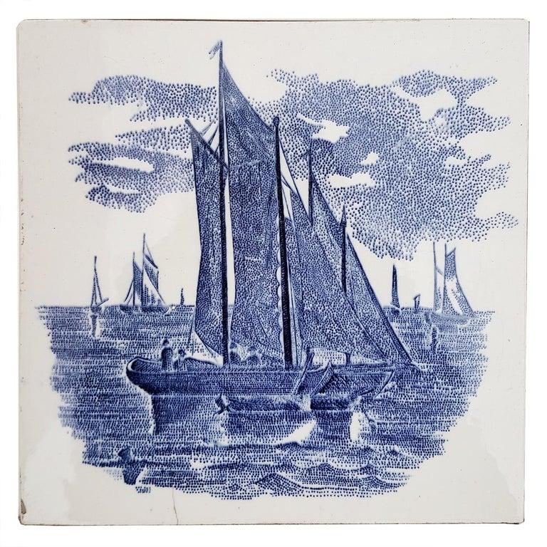 Set of 6 of Total 120 Dutch Blue Ceramic Tiles by Gilliot Hemiksen, 1930s For Sale 1