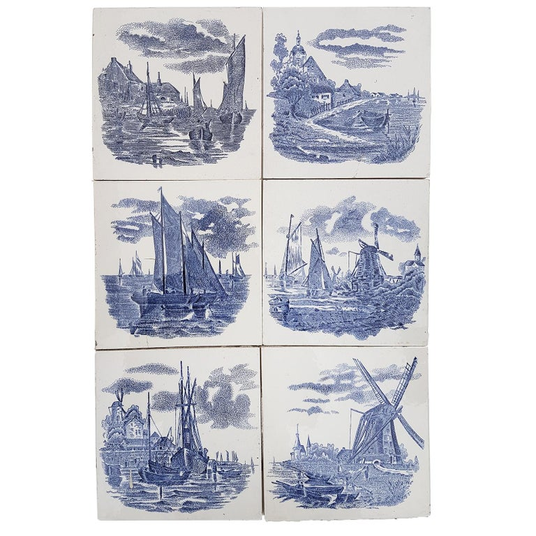 Set of 6 of Total 120 Dutch Blue Ceramic Tiles by Gilliot Hemiksen, 1930s For Sale 2