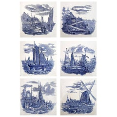 Set of 6 of Total 120 Dutch Blue Ceramic Tiles by Gilliot Hemiksen, 1930s