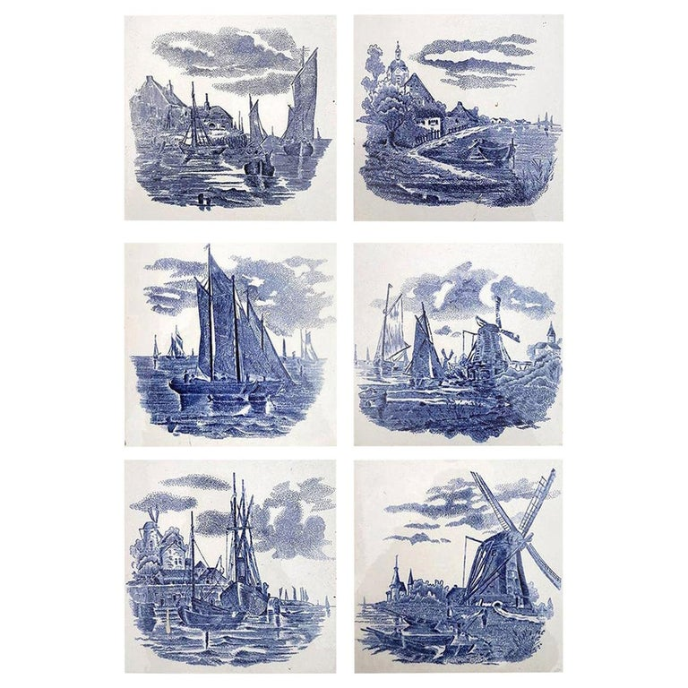 Set of 6 of Total 120 Dutch Blue Ceramic Tiles by Gilliot Hemiksen, 1930s For Sale