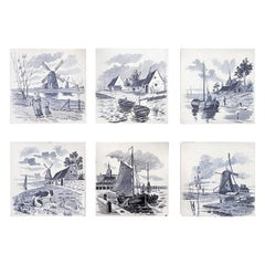 Set of 6 of Total 120 Dutch Blue Glazed Ceramic Tiles by Le Glaive, 1930