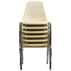 Set of 6 Off-White Stacking Chairs by O. F. Pollack, Sulo Germany 1978 Space Age