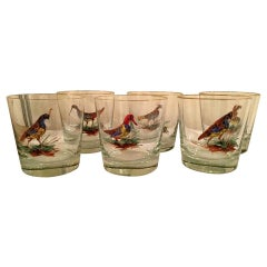Set of 10 Old Fashion Bar Glasses with Enameled Birds