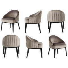 Set of 6 Oppède, Rounded Back Dining Chairs in Silver Grey Velvet