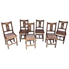 Set of 6 Oriental-Style Chairs in Carved Wood, with Mother-of-Pearl Inlay, 1880
