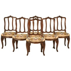 Set of 6 Original Antique Italian Oak Louis XV Dining Chairs with Needlepoint