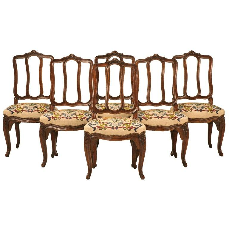 Set of 6 Original Antique Italian Oak Louis XV Dining Chairs with Needlepoint For Sale