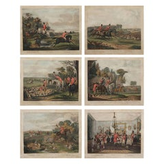 Set of 6 Original Antique Sporting Prints After Turner, Early 19th Century