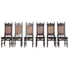 Set of 6 Original Gothic Revival Chairs of the 19th Century