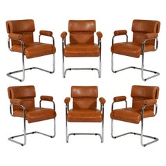 Set of 6 Leather Chairs by Guido Faleschini for Mariani