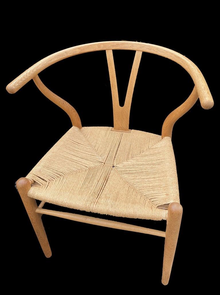 Scandinavian Modern Set of 6 Original Oak Wishbone Chairs by Hans Wegner for Carl Hanson & Son For Sale