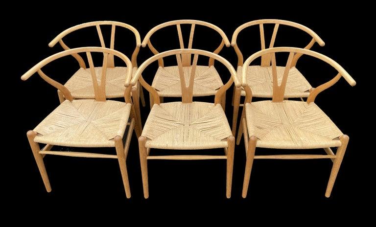 Danish Set of 6 Original Oak Wishbone Chairs by Hans Wegner for Carl Hanson & Son For Sale