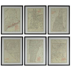 Set of 6 Original Vintage Maps of American States, circa 1900