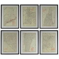 Set of 6 Original Vintage Maps of American States, circa 1900