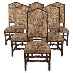 Set of 6 Os De Mouton Beech Tapestry Chairs