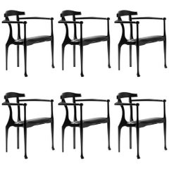 Set of 6 Oscar Tusquets Mid-Century Modern Black Ash Gaulino Spanish Easy Chairs