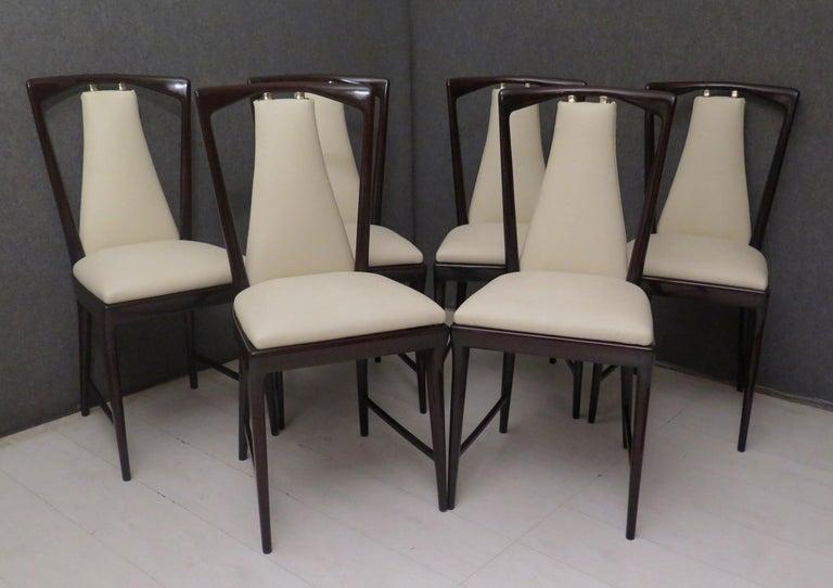 Set of 6 Osvaldo Borsani Mahogany and Leather Italian Chairs, 1950 For Sale 4