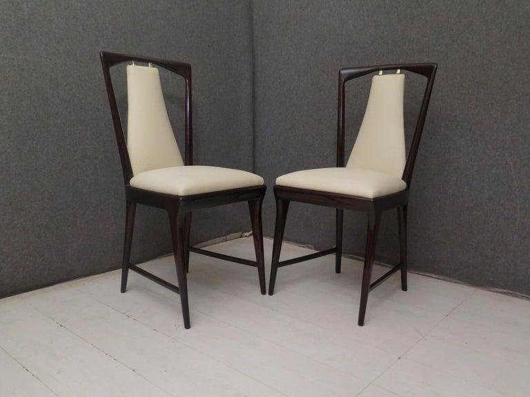 Set of 6 Osvaldo Borsani Mahogany and Leather Italian Chairs, 1950 For Sale 5