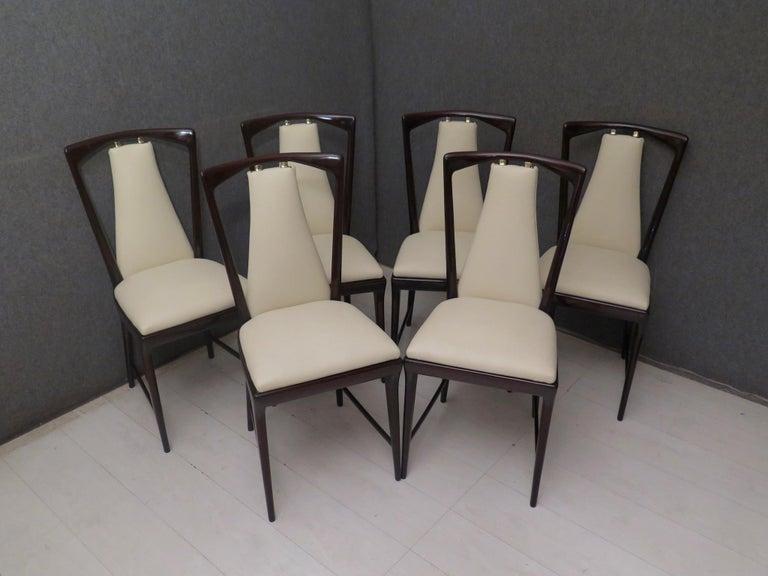 Set of 6 Osvaldo Borsani Mahogany and Leather Italian Chairs, 1950 For Sale 6