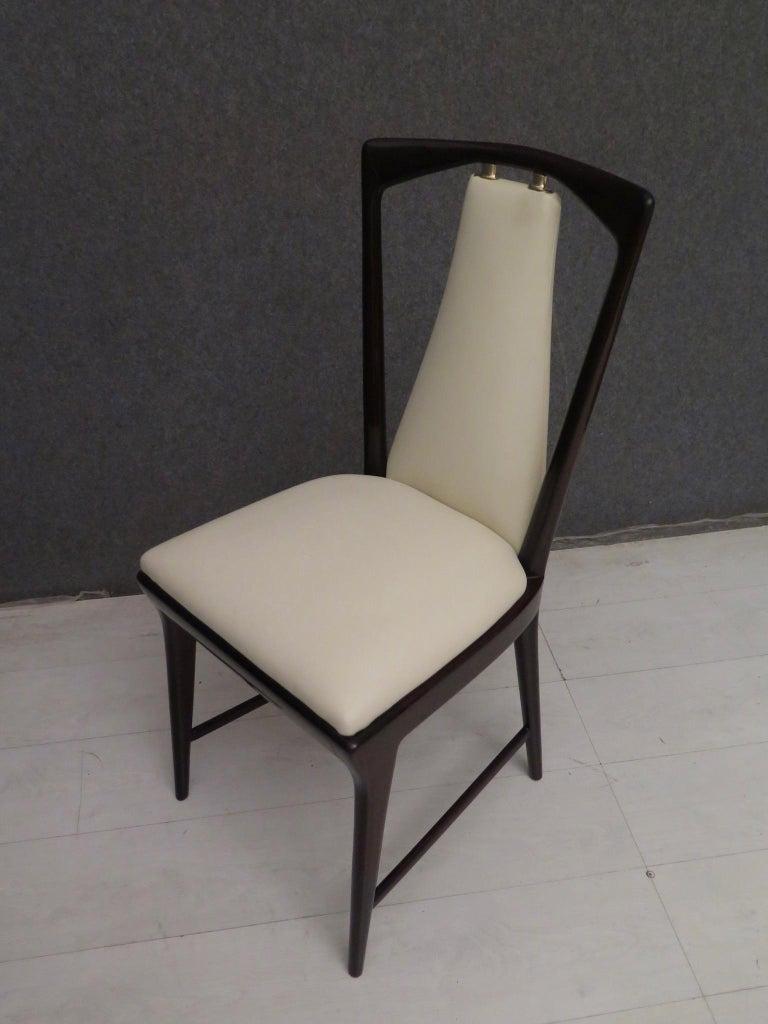 Set of 6 Osvaldo Borsani Mahogany and Leather Italian Chairs, 1950 For Sale 7