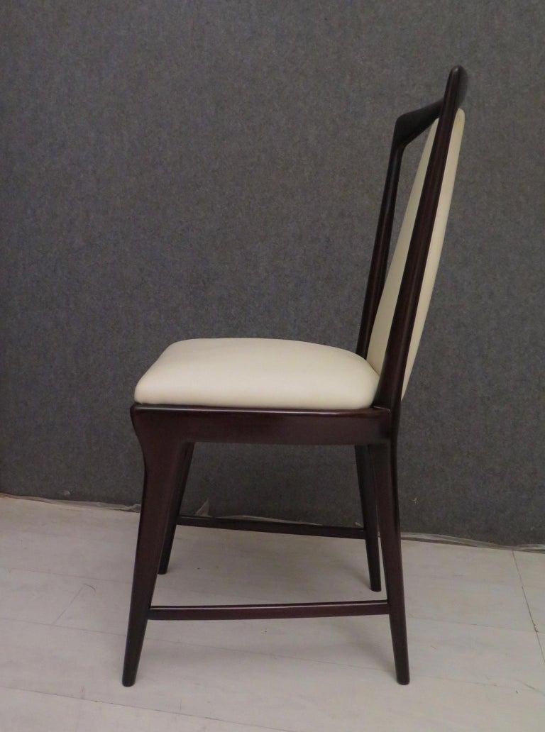 Set of 6 Osvaldo Borsani Mahogany and Leather Italian Chairs, 1950 For Sale 8