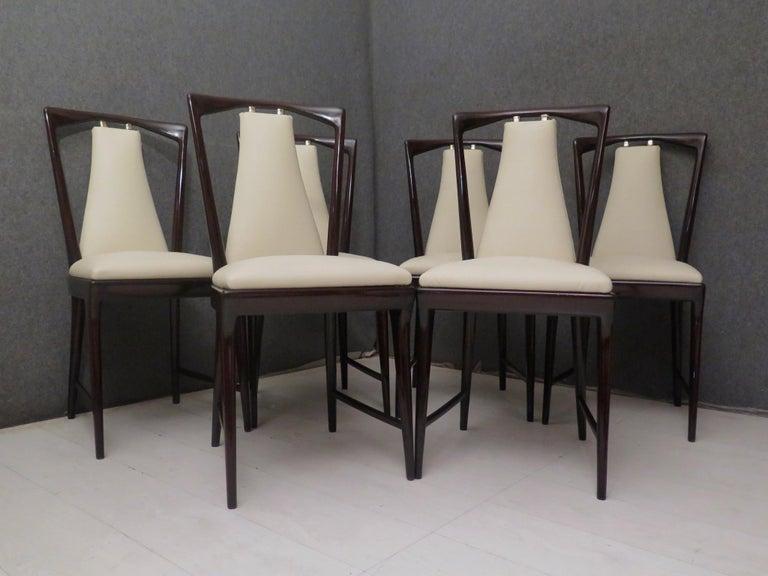 Set of 6 Osvaldo Borsani Mahogany and Leather Italian Chairs, 1950 For Sale 9