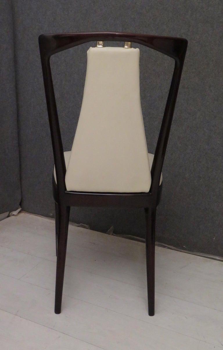 Set of 6 Osvaldo Borsani Mahogany and Leather Italian Chairs, 1950 For Sale 10