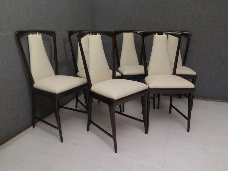 Set of 6 Osvaldo Borsani Mahogany and Leather Italian Chairs, 1950 For Sale 11
