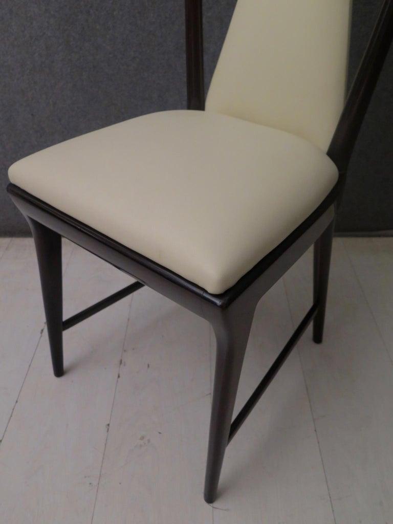 Set of 6 Osvaldo Borsani Mahogany and Leather Italian Chairs, 1950 For Sale 12