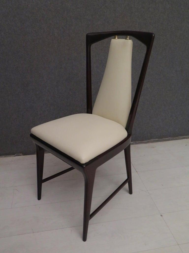 Mid-Century Modern Set of 6 Osvaldo Borsani Mahogany and Leather Italian Chairs, 1950 For Sale