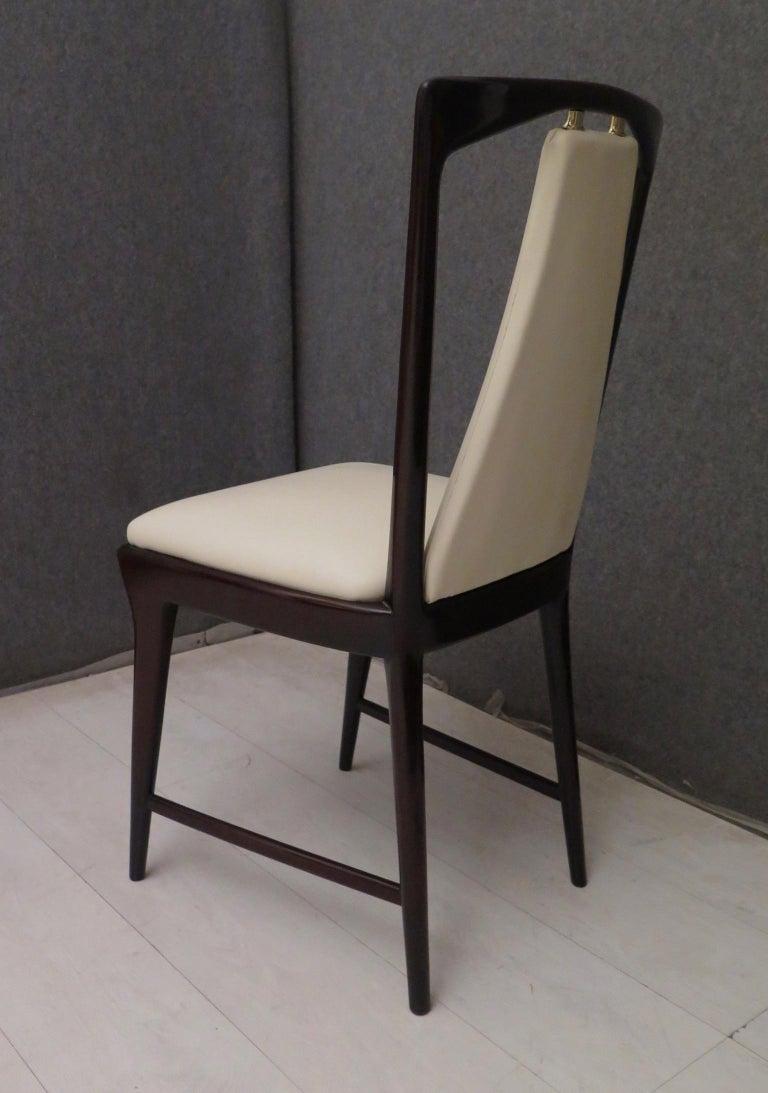 Mid-20th Century Set of 6 Osvaldo Borsani Mahogany and Leather Italian Chairs, 1950 For Sale