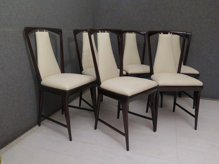 Brass Set of 6 Osvaldo Borsani Mahogany and Leather Italian Chairs, 1950 For Sale