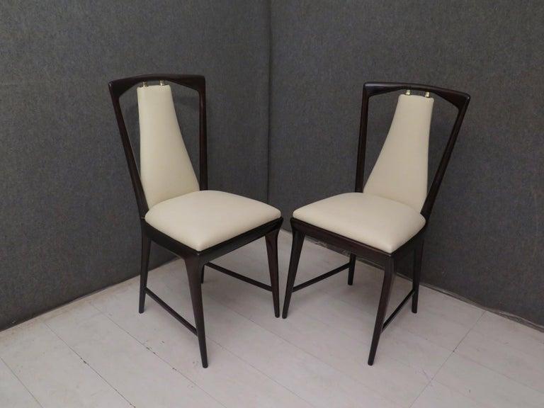 Set of 6 Osvaldo Borsani Mahogany and Leather Italian Chairs, 1950 For Sale 1