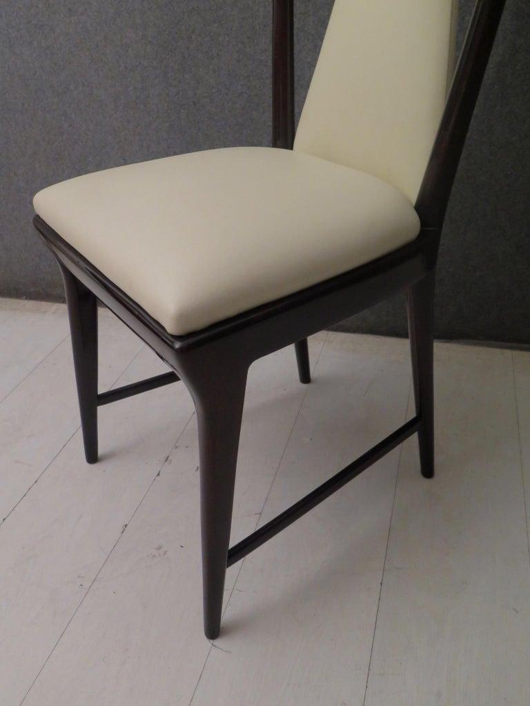 Set of 6 Osvaldo Borsani Mahogany and Leather Italian Chairs, 1950 For Sale 2