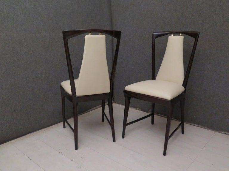 Set of 6 Osvaldo Borsani Mahogany and Leather Italian Chairs, 1950 For Sale 3