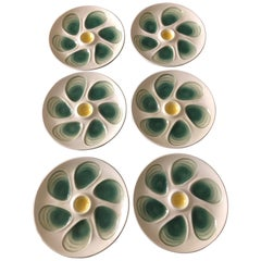 Set of 6 Oyster Plates from Salins, France