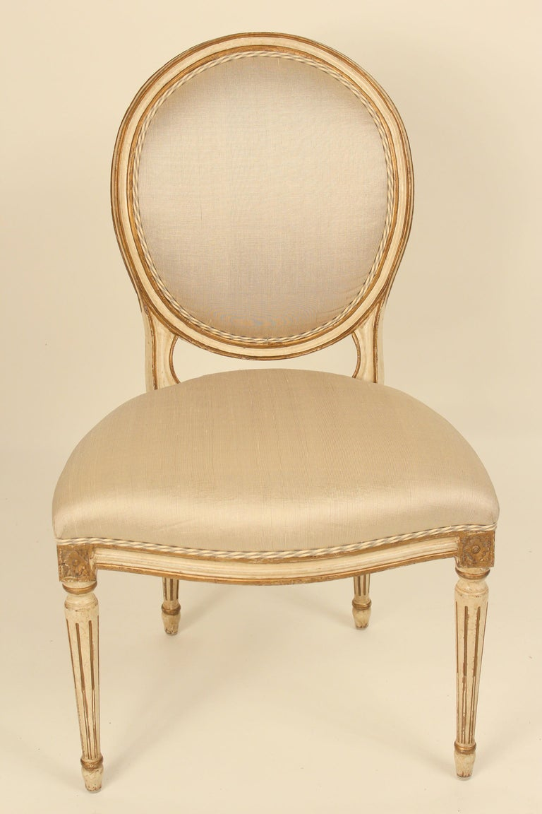 Unknown Set of 6 Painted and Gilt Louis XVI Style Dining Chairs For Sale