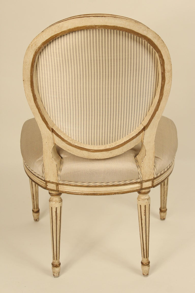 Upholstery Set of 6 Painted and Gilt Louis XVI Style Dining Chairs For Sale