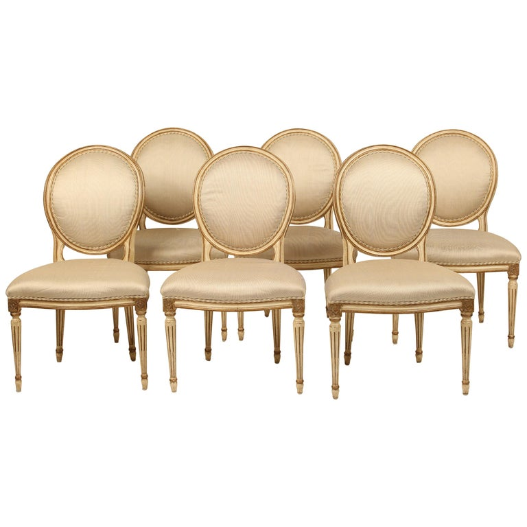 Set of 6 Painted and Gilt Louis XVI Style Dining Chairs For Sale
