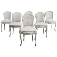 Set of 6 Painted and Upholstered Cane Back Dining Chairs with Slip Covers