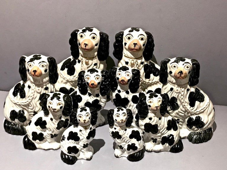 Molded Set of 6 Pairs of Graduated Staffordshire Spaniels, circa 1850 For Sale