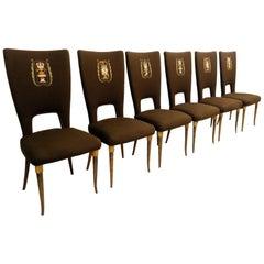 Set of 6 Paolo Buffa Style Highback Chairs, 1950s