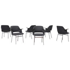 Set of 6 Pastoe Armchairs with Teak Arms and Tubular Metal Legs