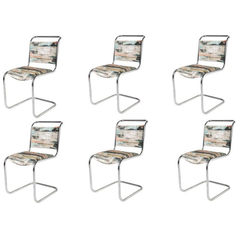 Set of 6 P.E.L. Chrome-Plated Tubular Chairs, England, circa 1931 For Sale