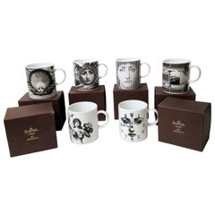 Set of 6 Piero Fornasetti for Rosenthal Porcelain Coffee Mugs in Julia Pattern