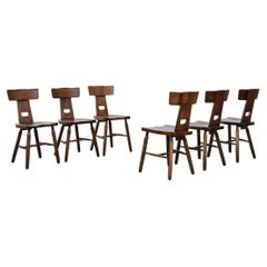 Set of 6 Pierre Chapo Style Brutalist T-Back Dining Chairs