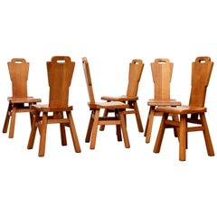Set of 6 Pierre Chapo Style High Back Dining Chairs