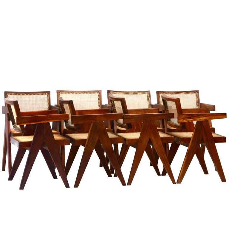 Set of Six Pierre Jeanneret Armchairs in Teak from the Chandigarh Project