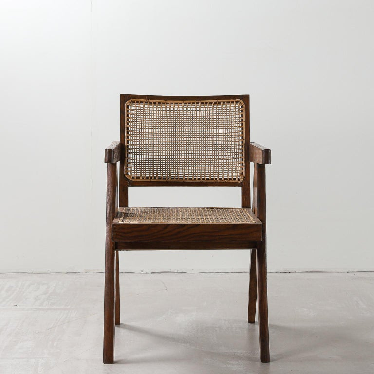Set of 6 Pierre Jeanneret Office Chair, Variant, circa 1953-1954 In Good Condition For Sale In London, Greater London